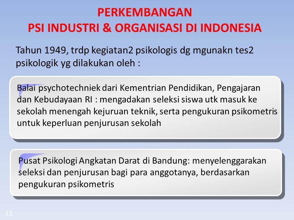 PERKEMBANGAN PSI INDUSTRI & ORGANISASI DI INDONESIA