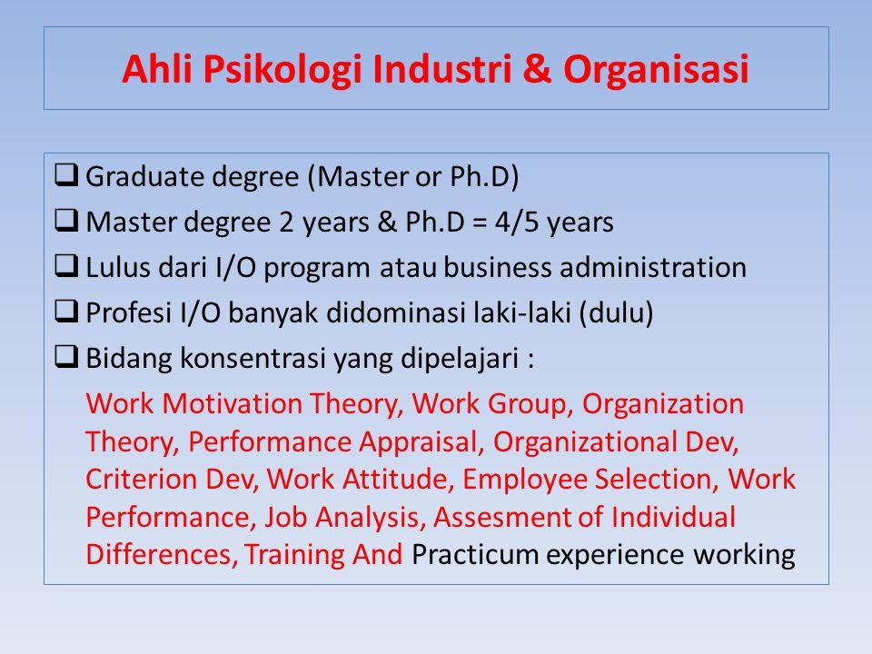 Ahli Psikologi Industri & Organisasi