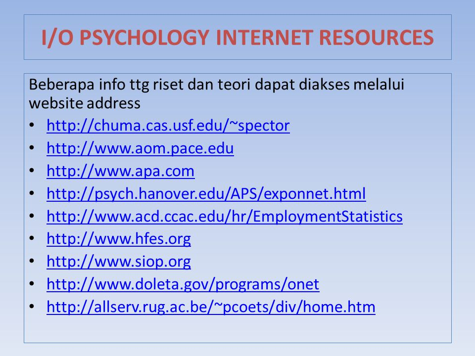 I/O PSYCHOLOGY INTERNET RESOURCES