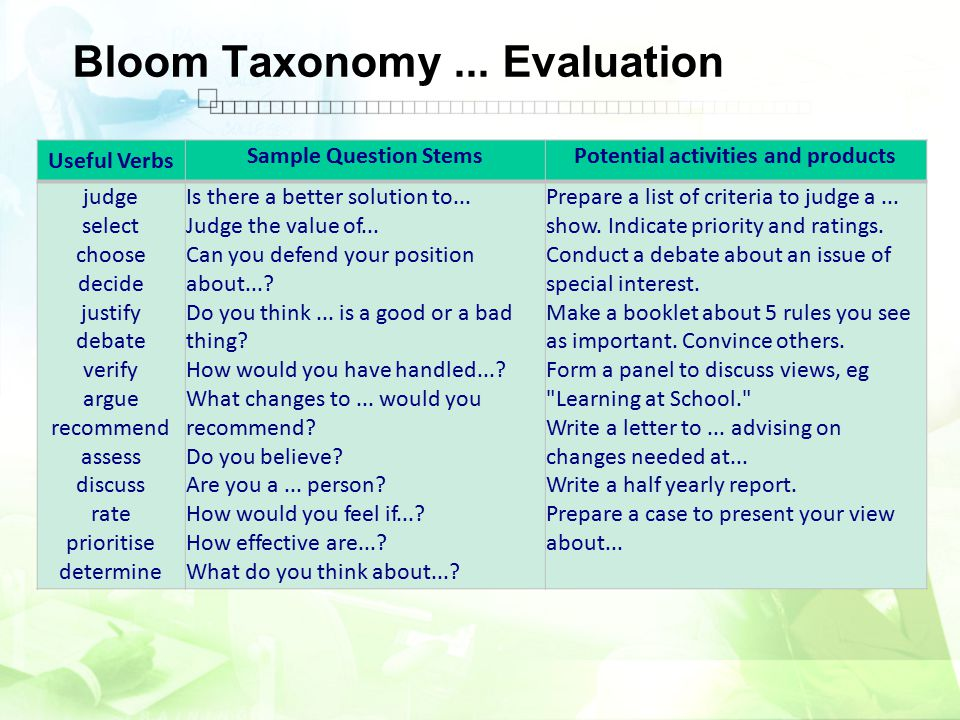 Bloom Taxonomy ... Evaluation