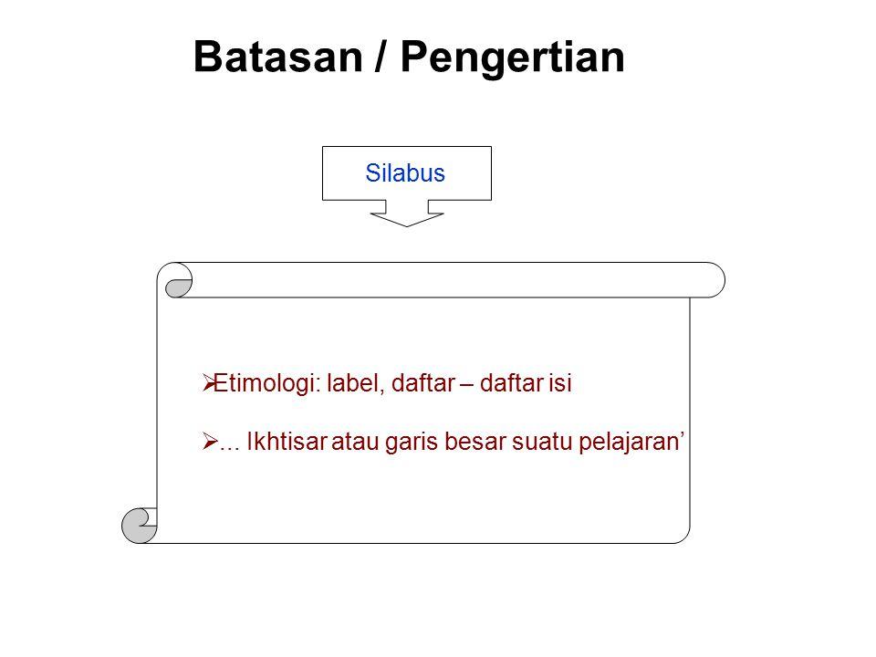 Batasan / Pengertian Silabus Etimologi: label, daftar – daftar isi