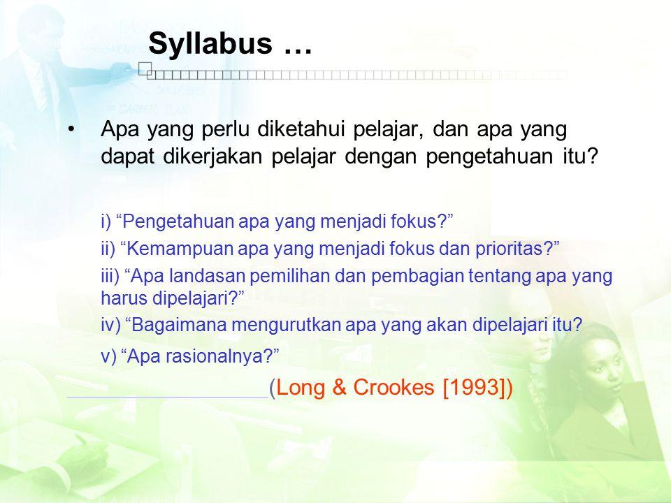 Syllabus … Apa yang perlu diketahui pelajar, dan apa yang dapat dikerjakan pelajar dengan pengetahuan itu