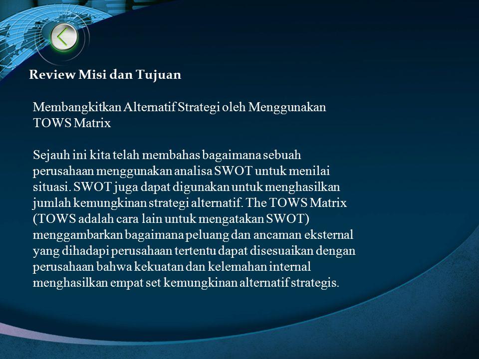 Review Misi dan Tujuan Membangkitkan Alternatif Strategi oleh Menggunakan TOWS Matrix.