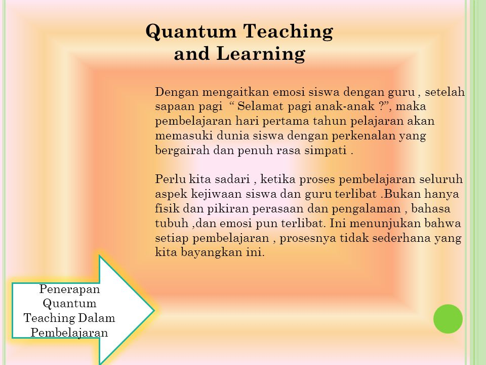 Quantum Teaching and Learning
