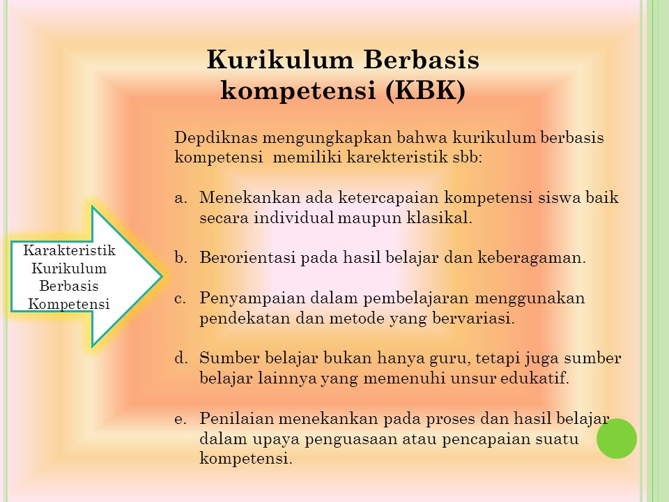 Kurikulum Berbasis kompetensi (KBK)