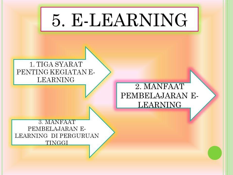 5. E-LEARNING 2. MANFAAT PEMBELAJARAN E- LEARNING