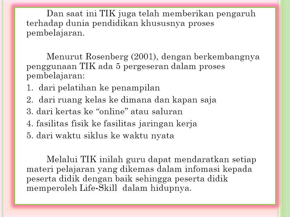 Dan saat ini TIK juga telah memberikan pengaruh terhadap dunia pendidikan khususnya proses pembelajaran.