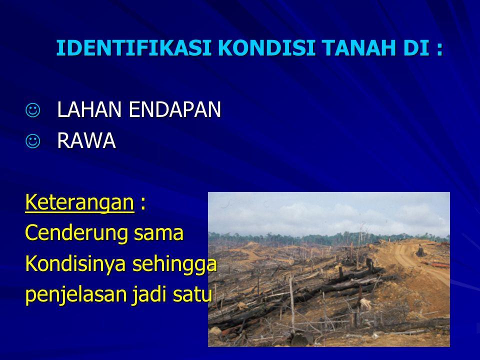 IDENTIFIKASI KONDISI TANAH DI :