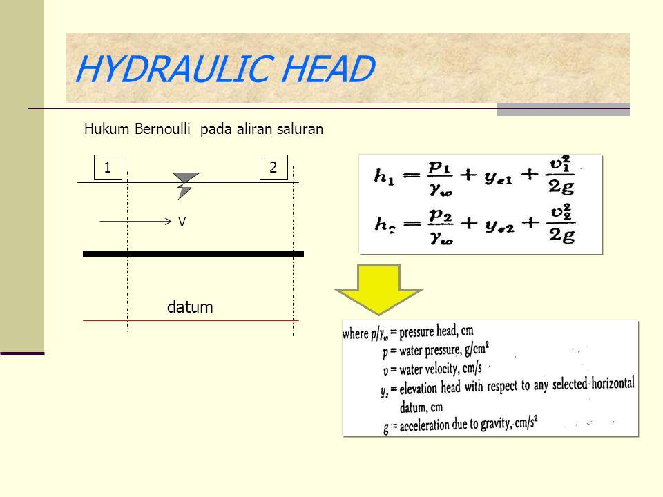 HYDRAULIC HEAD Hukum Bernoulli pada aliran saluran 1 2 V datum