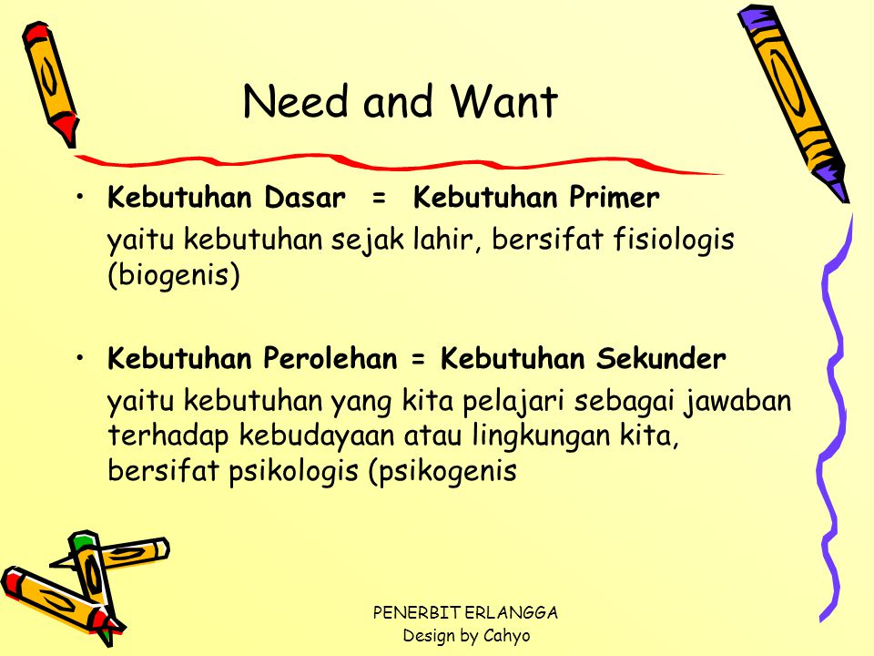 Need and Want Kebutuhan Dasar = Kebutuhan Primer