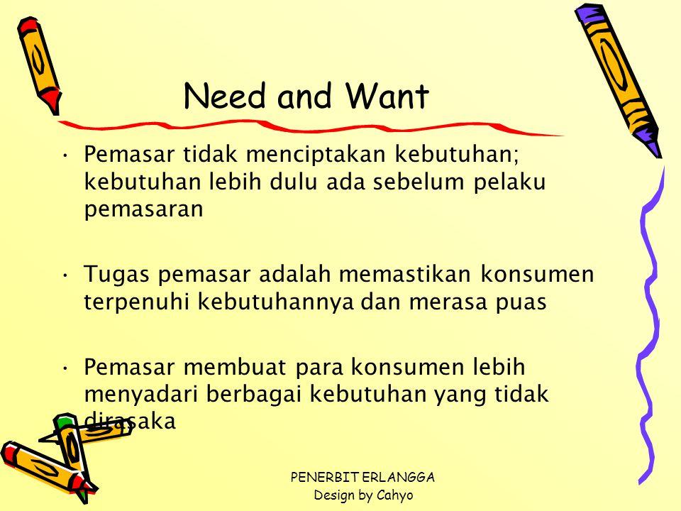 Need and Want Pemasar tidak menciptakan kebutuhan; kebutuhan lebih dulu ada sebelum pelaku pemasaran.