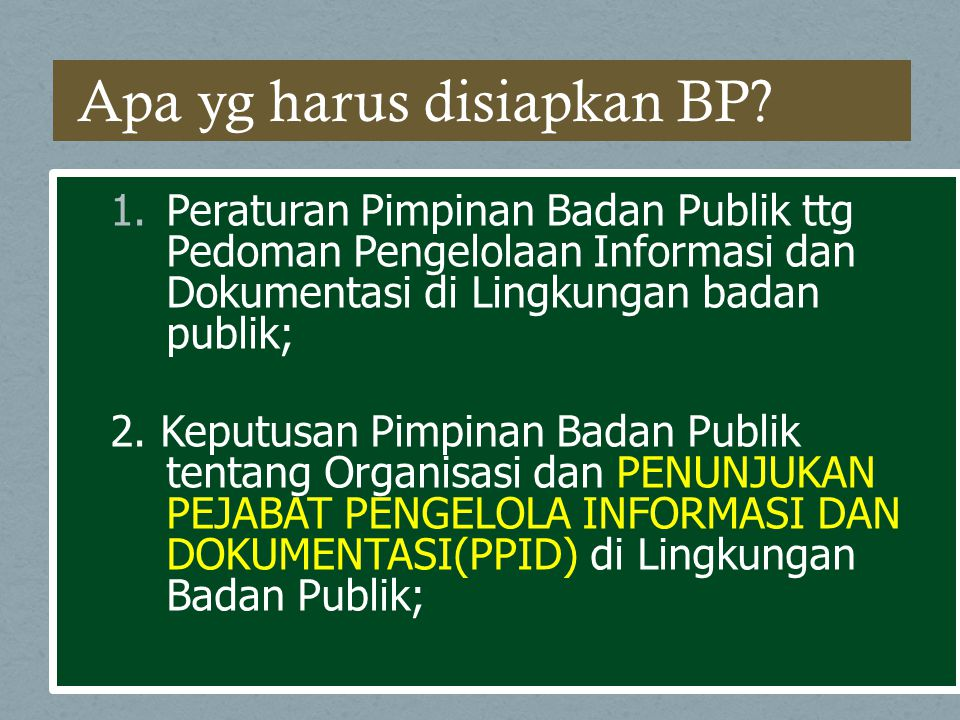 Apa yg harus disiapkan BP