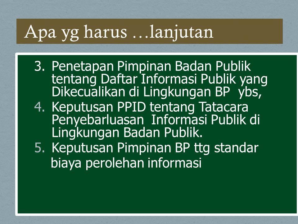 Apa yg harus …lanjutan 3. Penetapan Pimpinan Badan Publik tentang Daftar Informasi Publik yang Dikecualikan di Lingkungan BP ybs,