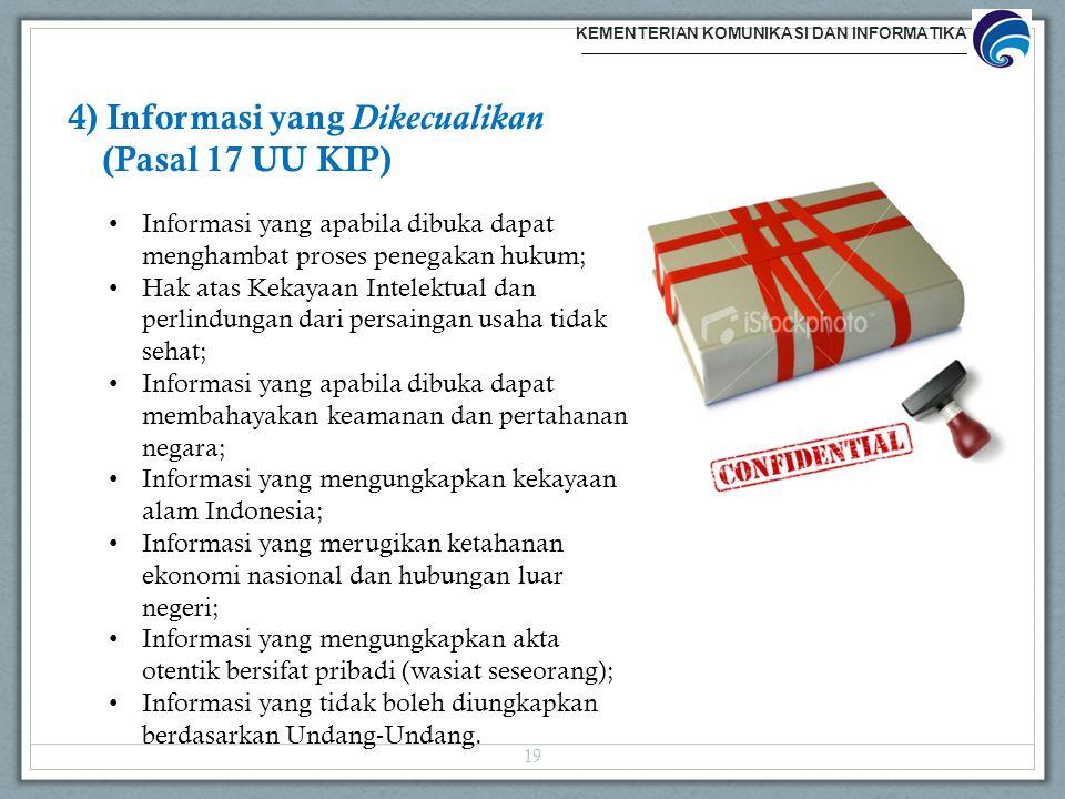 4) Informasi yang Dikecualikan (Pasal 17 UU KIP)
