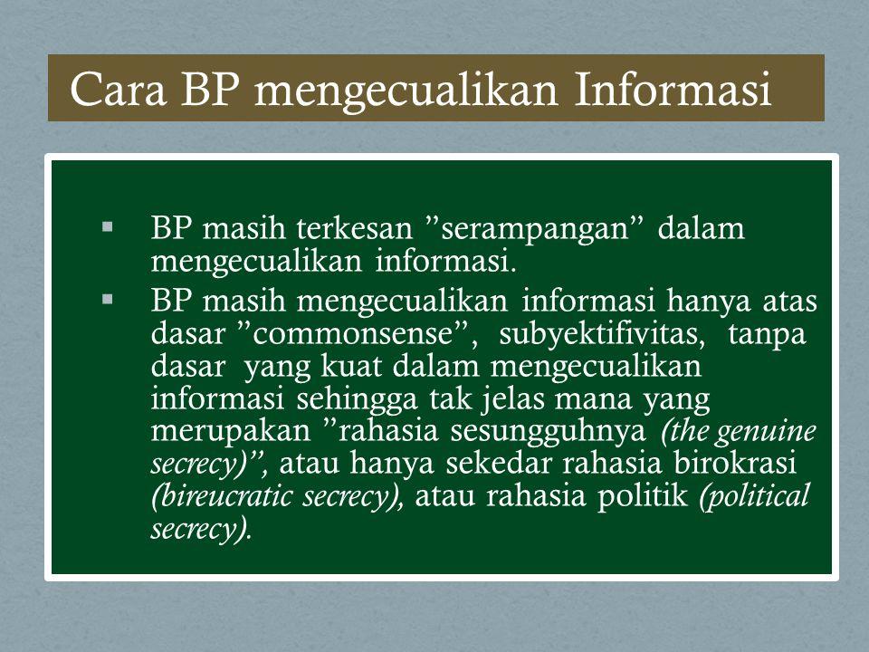 Cara BP mengecualikan Informasi