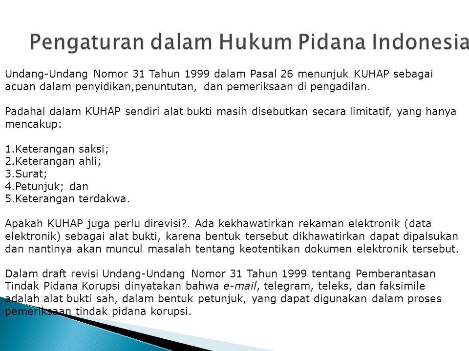 Pengaturan dalam Hukum Pidana Indonesia