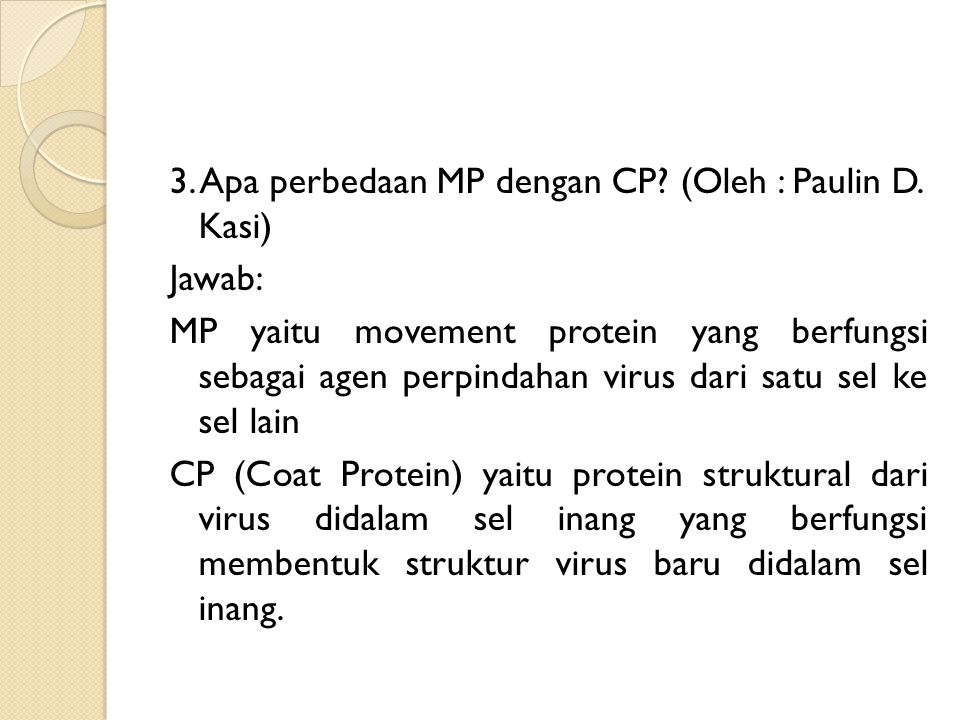 3. Apa perbedaan MP dengan CP. (Oleh : Paulin D