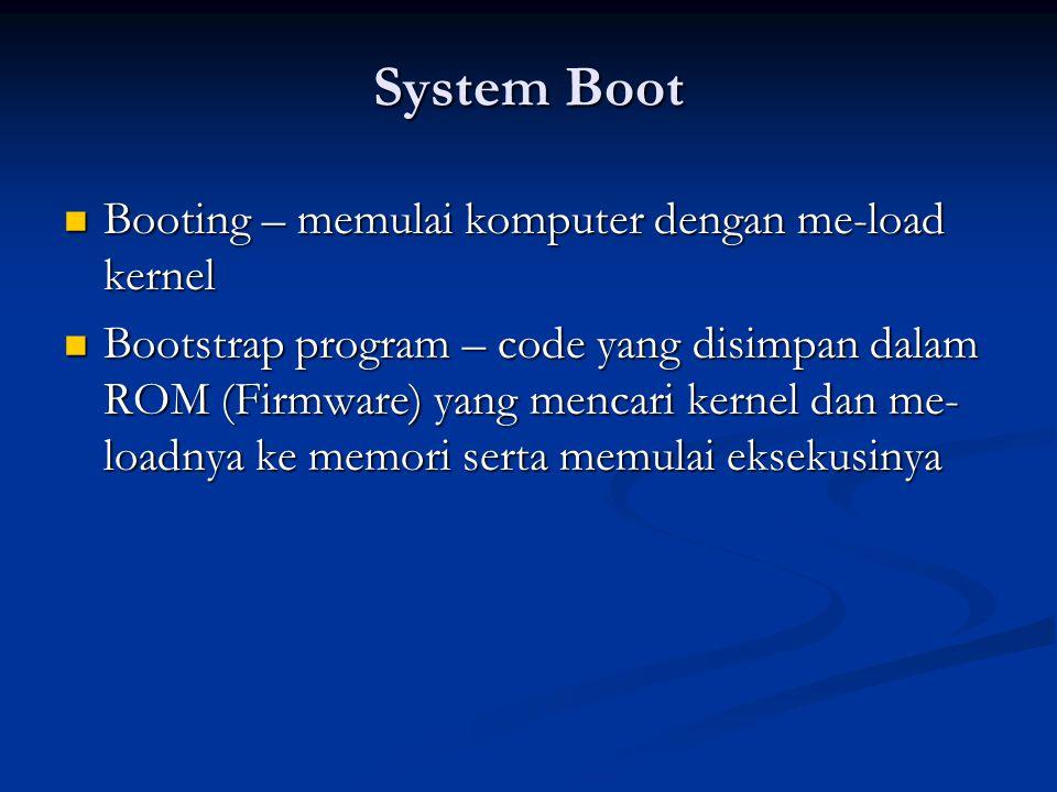 System Boot Booting – memulai komputer dengan me-load kernel
