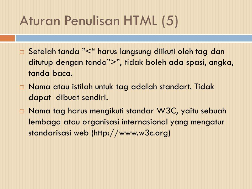 Aturan Penulisan HTML (5)