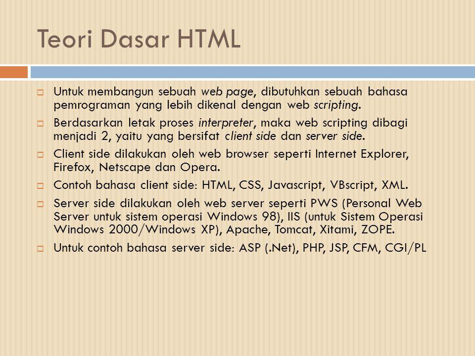 Teori Dasar HTML Untuk membangun sebuah web page, dibutuhkan sebuah bahasa pemrograman yang lebih dikenal dengan web scripting.