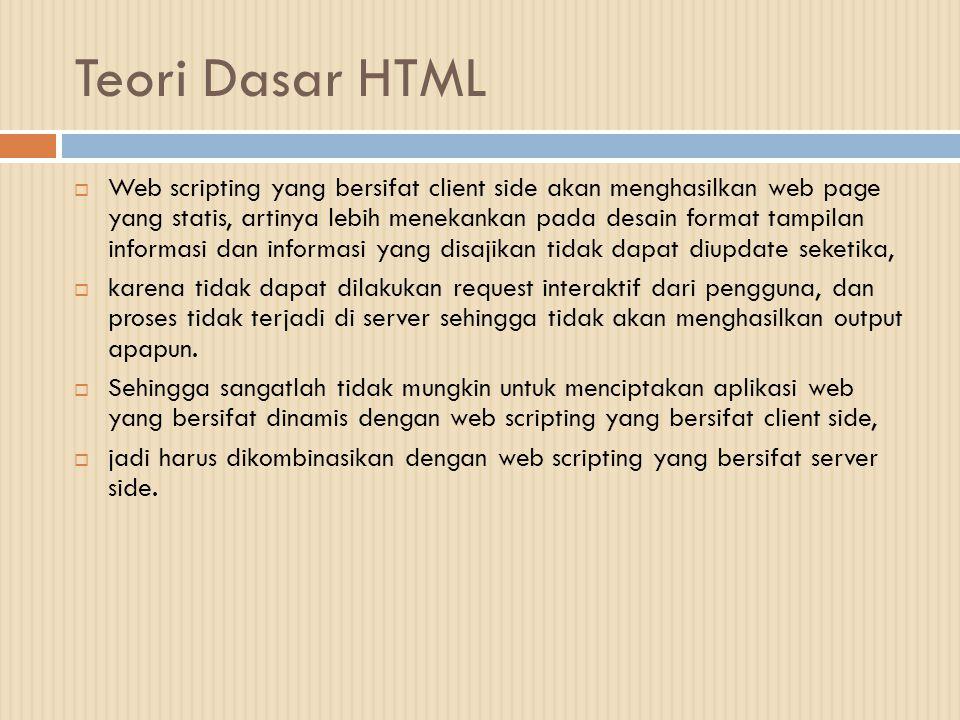 Teori Dasar HTML