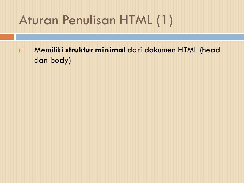 Aturan Penulisan HTML (1)