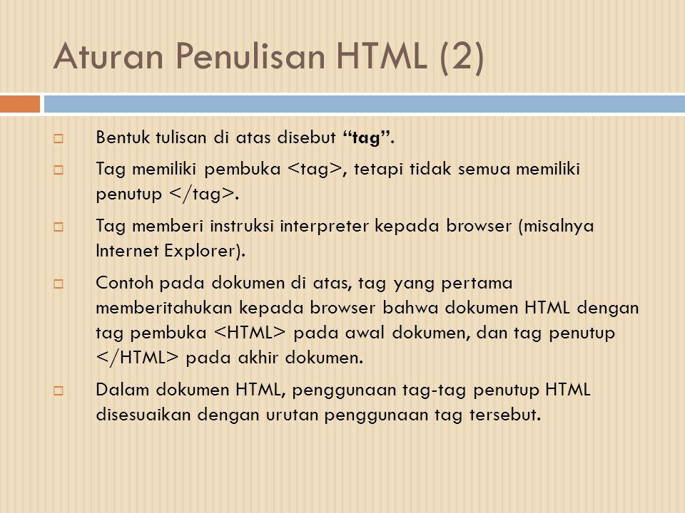 Aturan Penulisan HTML (2)