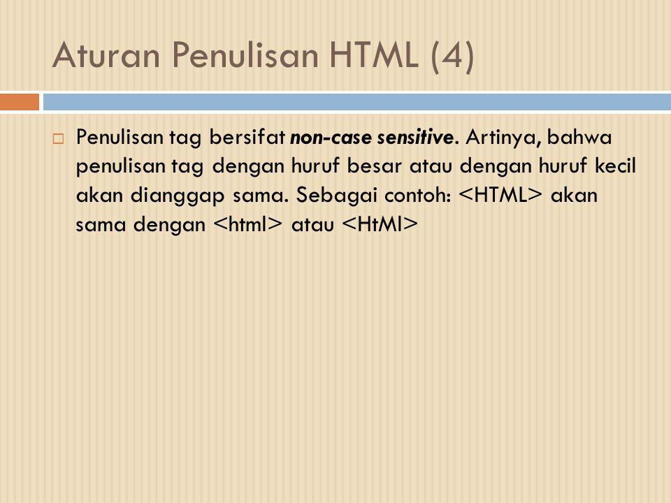 Aturan Penulisan HTML (4)