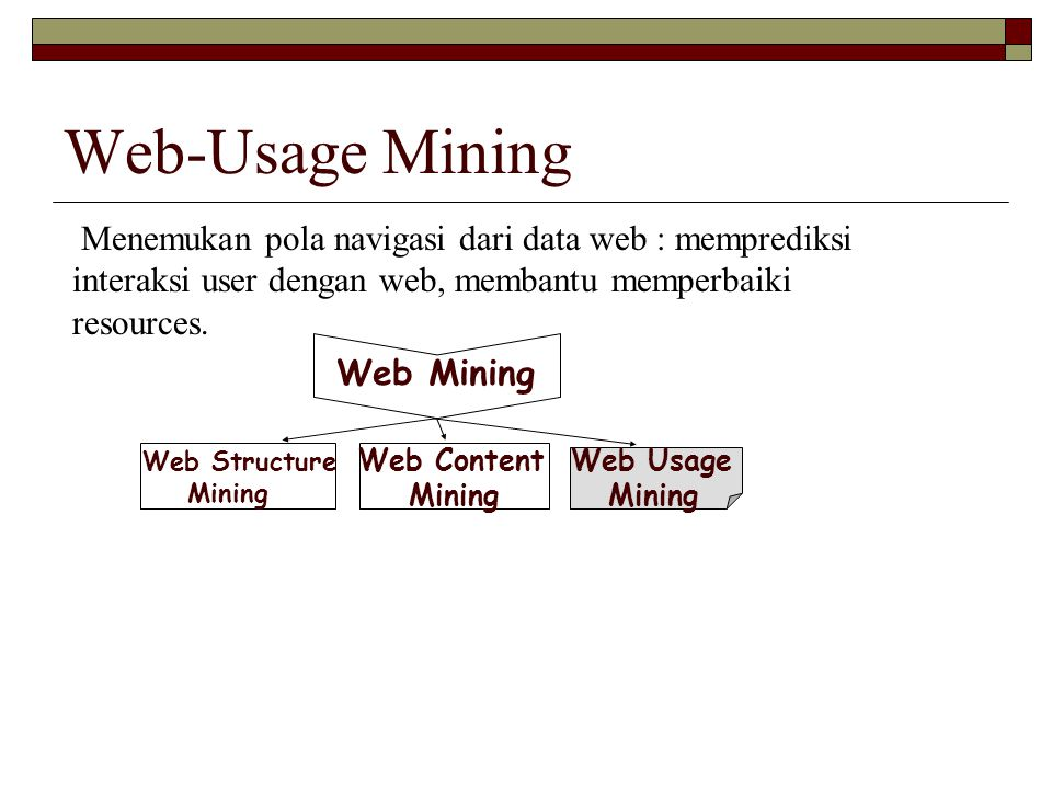 Web-Usage Mining Menemukan pola navigasi dari data web : memprediksi interaksi user dengan web, membantu memperbaiki resources.