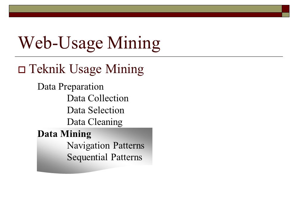 Web-Usage Mining Teknik Usage Mining Data Preparation Data Collection