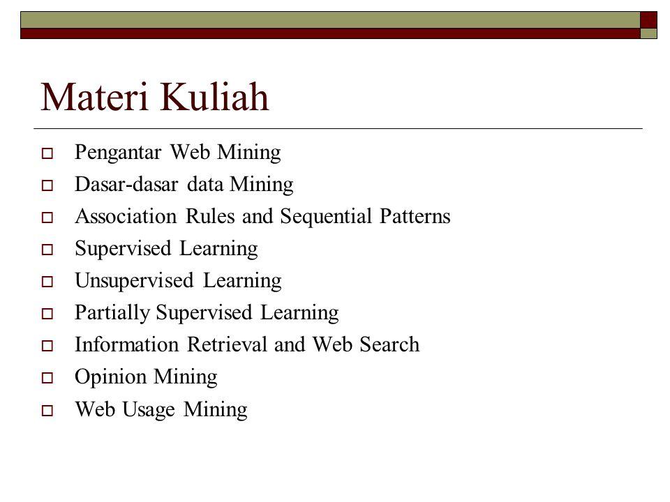 Materi Kuliah Pengantar Web Mining Dasar-dasar data Mining