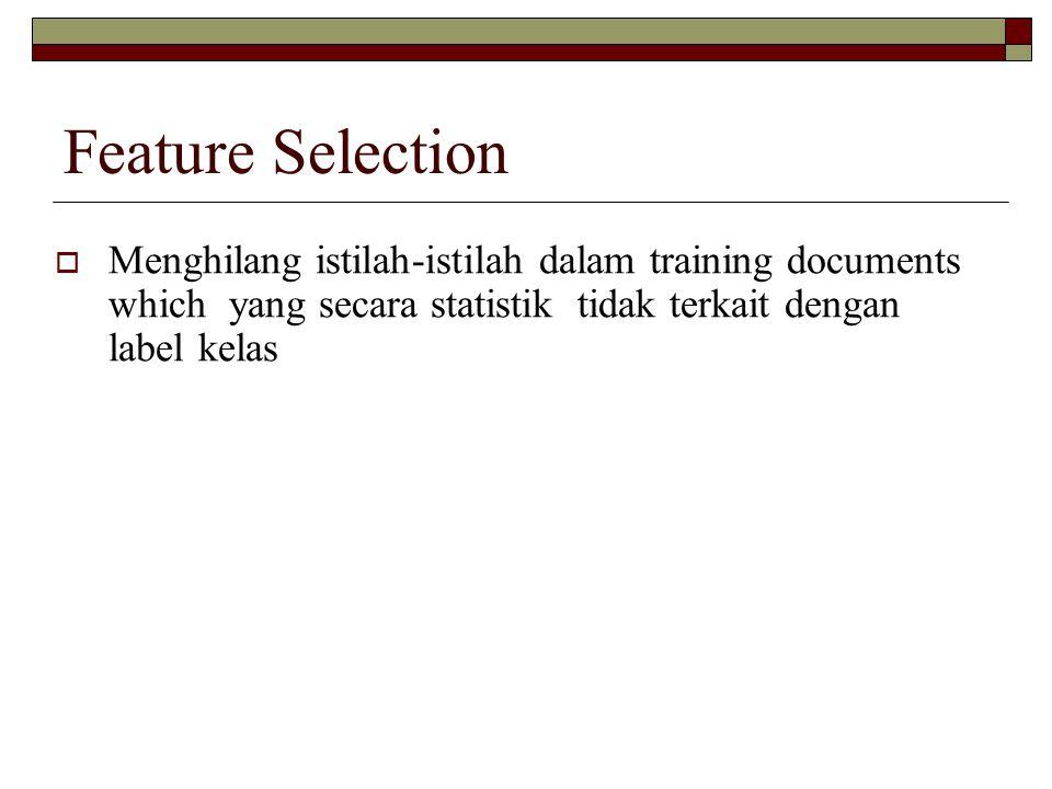 Feature Selection Menghilang istilah-istilah dalam training documents which yang secara statistik tidak terkait dengan label kelas.