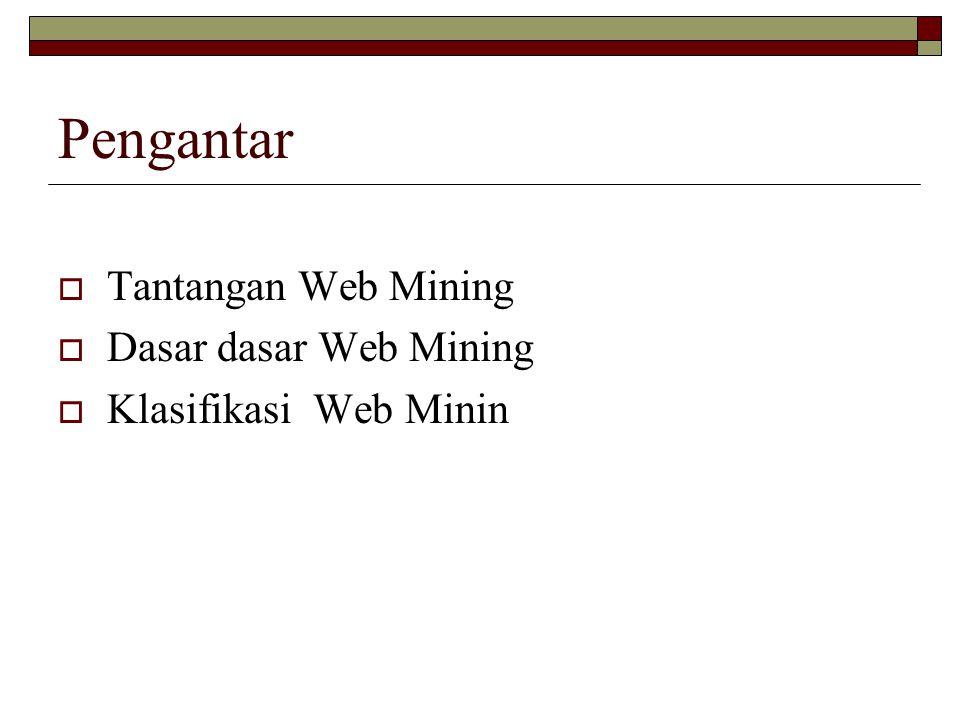 Pengantar Tantangan Web Mining Dasar dasar Web Mining