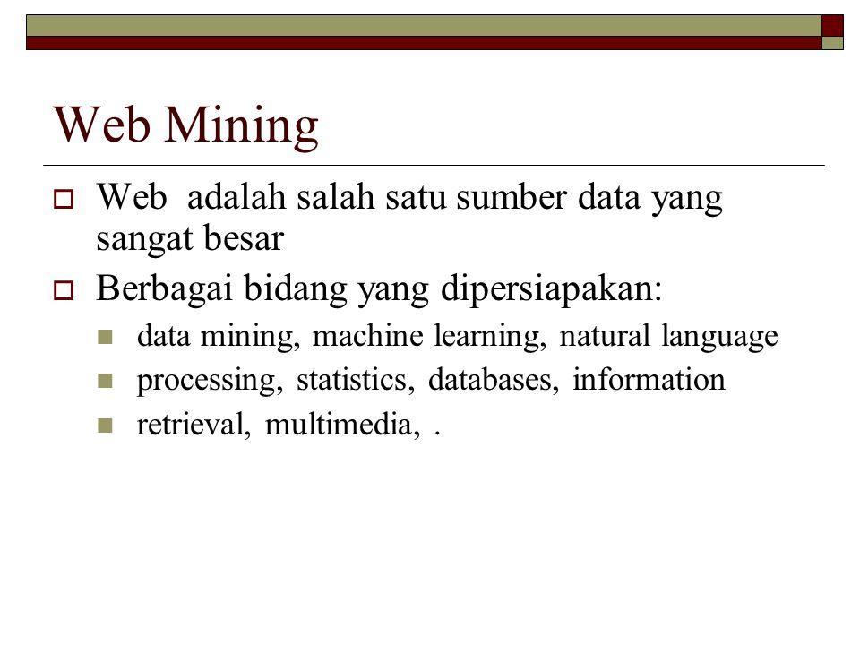 Web Mining Web adalah salah satu sumber data yang sangat besar