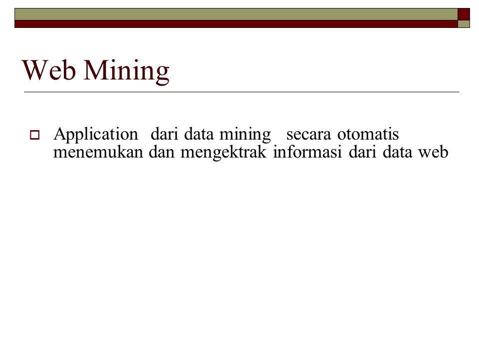 Web Mining Application dari data mining secara otomatis menemukan dan mengektrak informasi dari data web.