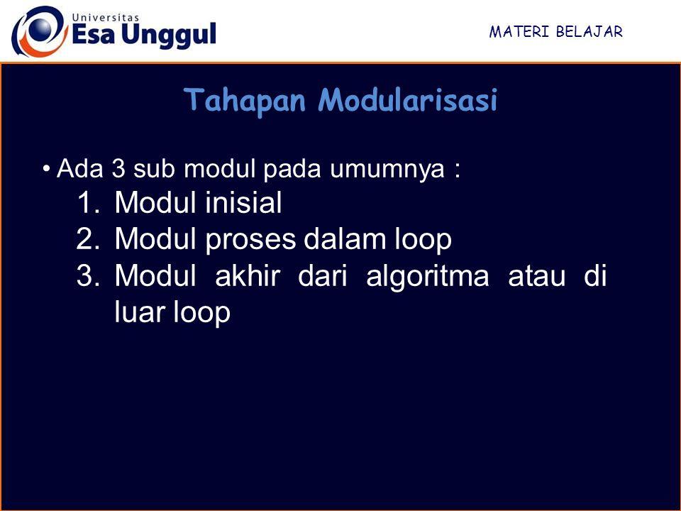 Modul proses dalam loop Modul akhir dari algoritma atau di luar loop