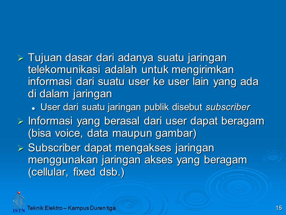 Tujuan dasar dari adanya suatu jaringan telekomunikasi adalah untuk mengirimkan informasi dari suatu user ke user lain yang ada di dalam jaringan