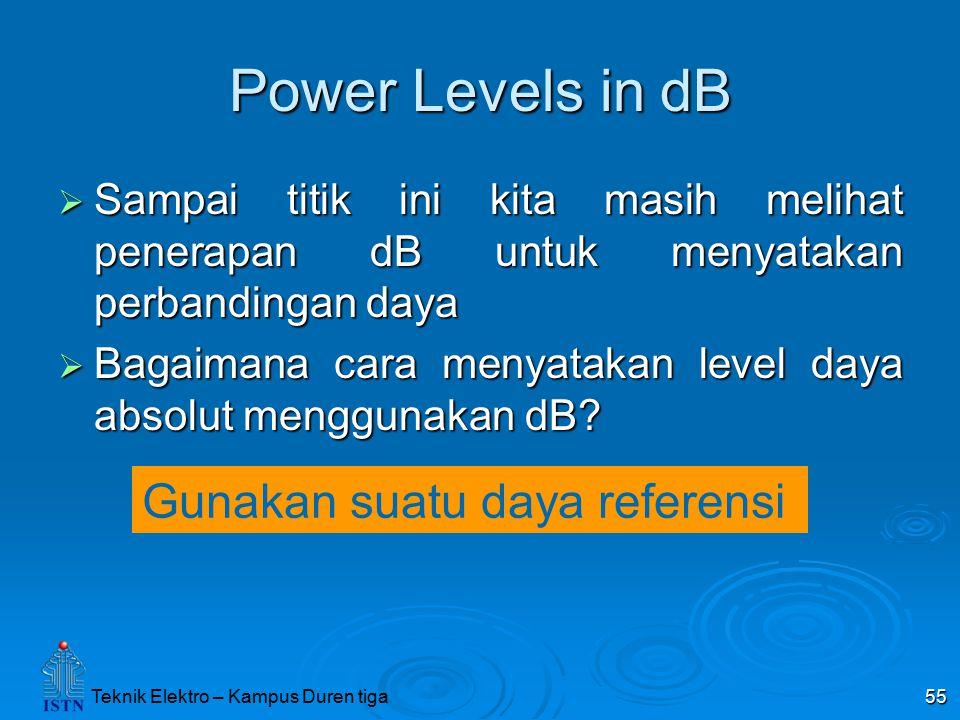 Power Levels in dB Gunakan suatu daya referensi