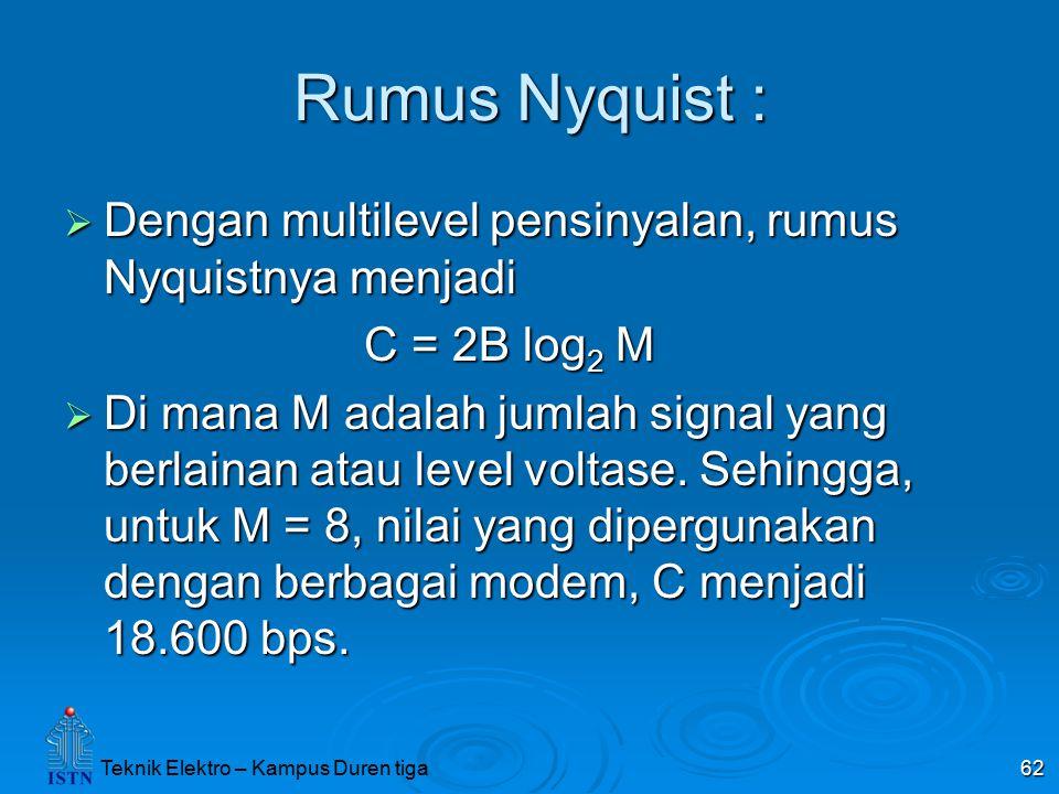 Rumus Nyquist : Dengan multilevel pensinyalan, rumus Nyquistnya menjadi. C = 2B log2 M.