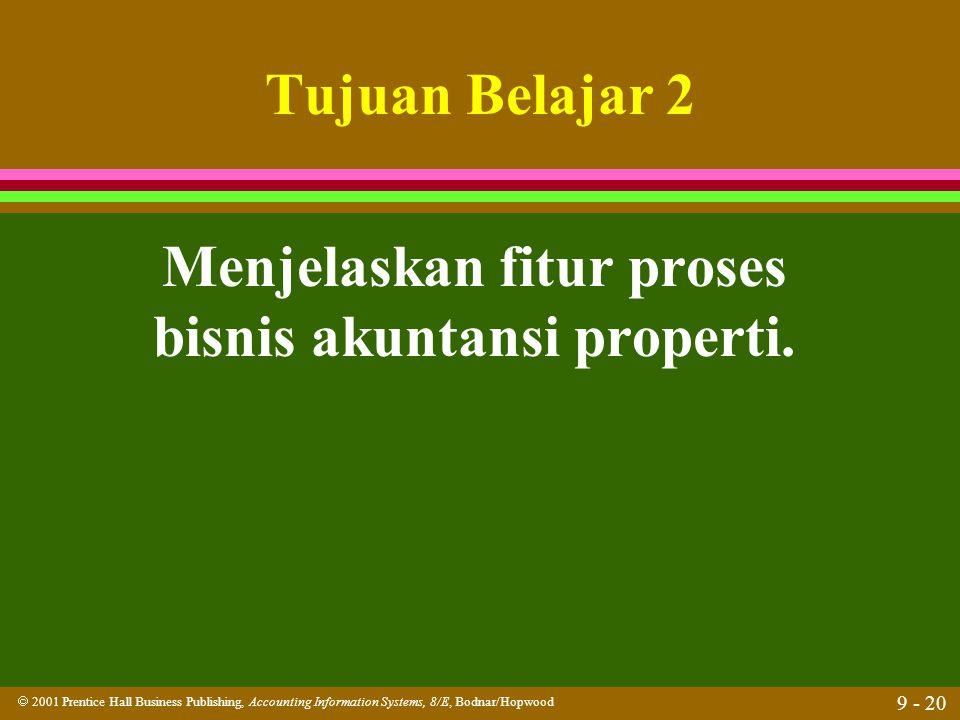 Menjelaskan fitur proses bisnis akuntansi properti.