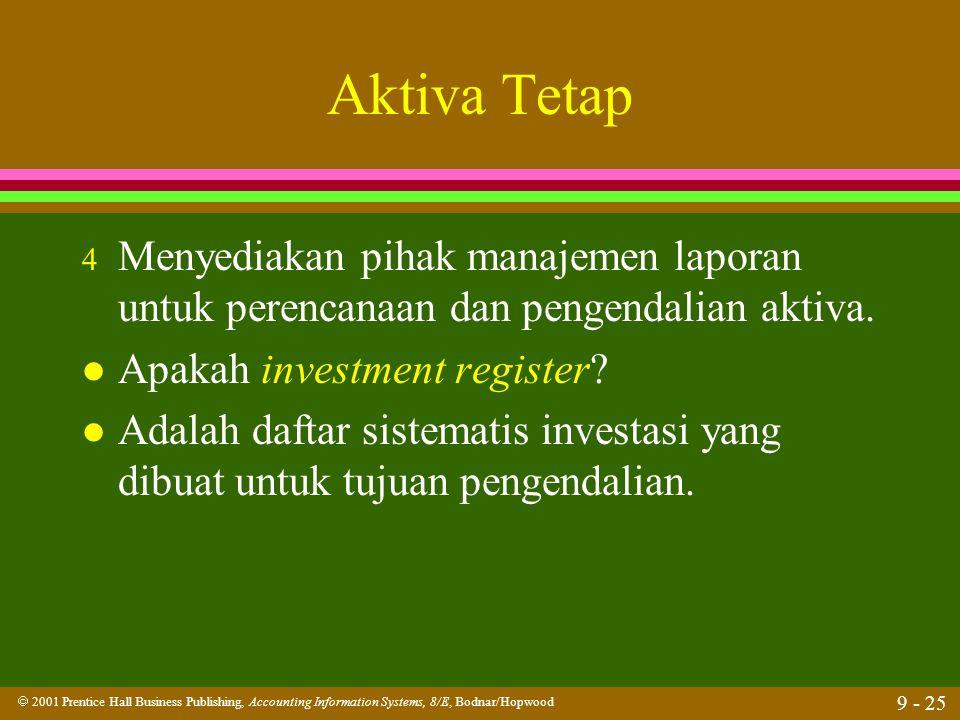Aktiva Tetap Menyediakan pihak manajemen laporan untuk perencanaan dan pengendalian aktiva. Apakah investment register