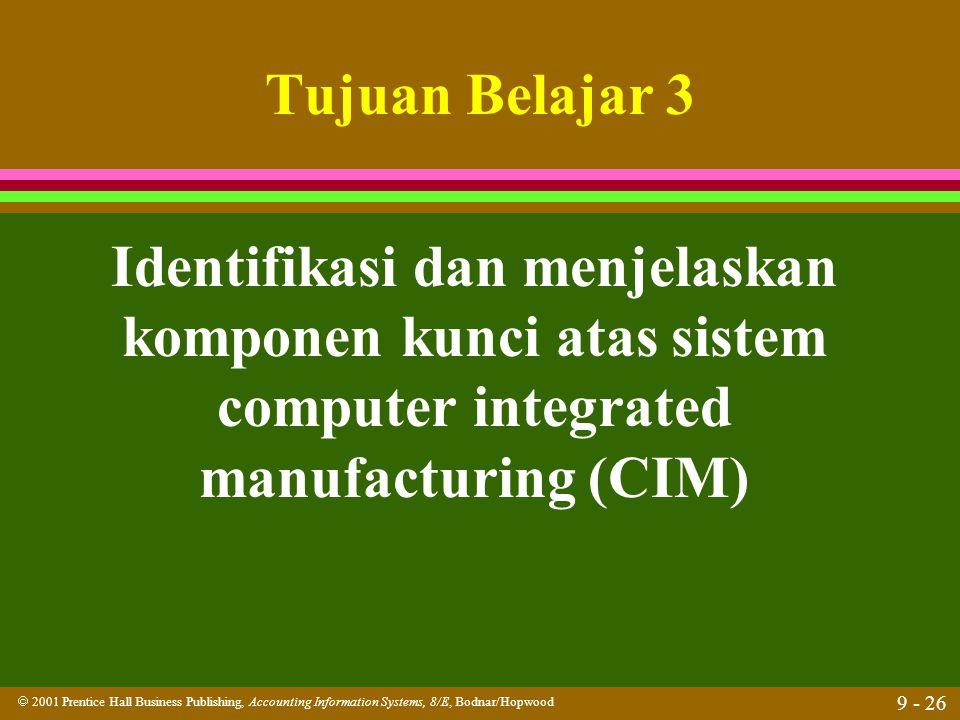 Tujuan Belajar 3 Identifikasi dan menjelaskan komponen kunci atas sistem computer integrated manufacturing (CIM)