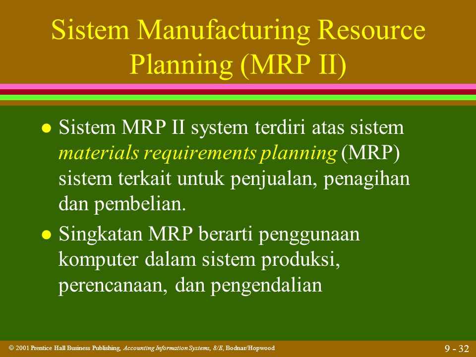 Sistem Manufacturing Resource Planning (MRP II)