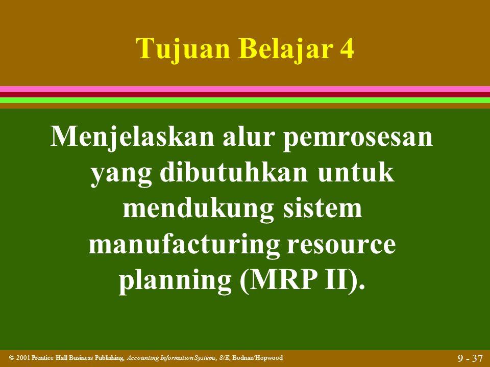 Tujuan Belajar 4 Menjelaskan alur pemrosesan yang dibutuhkan untuk mendukung sistem manufacturing resource planning (MRP II).