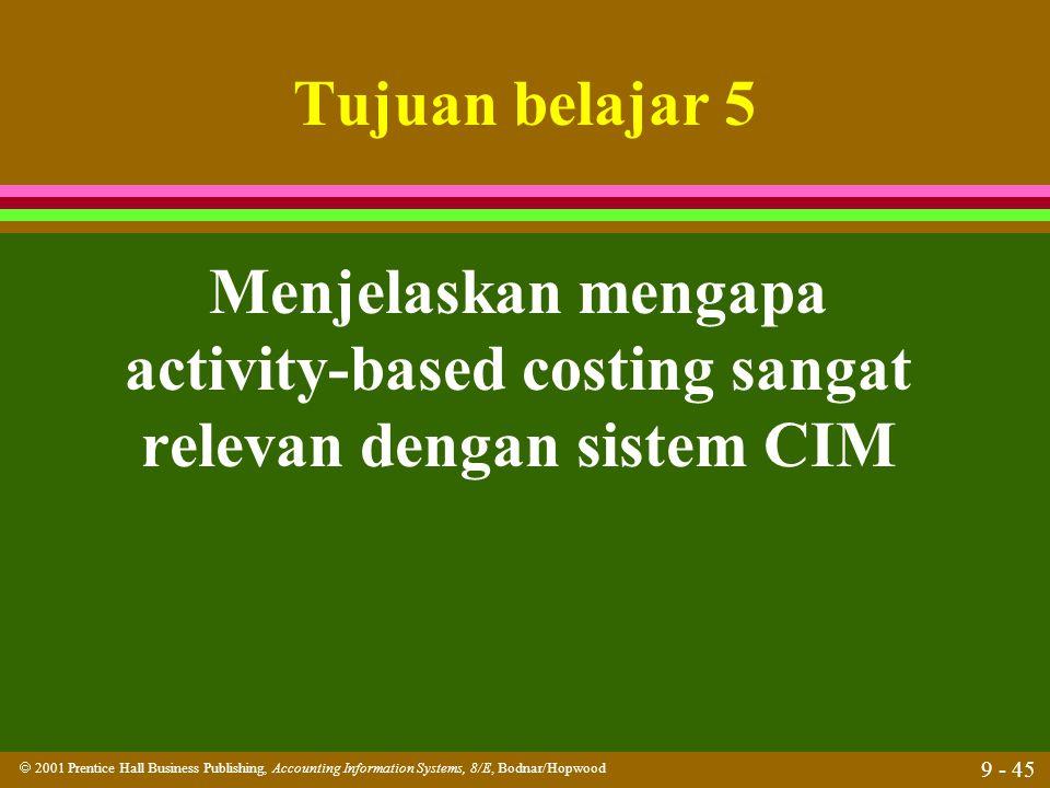 Tujuan belajar 5 Menjelaskan mengapa activity-based costing sangat relevan dengan sistem CIM