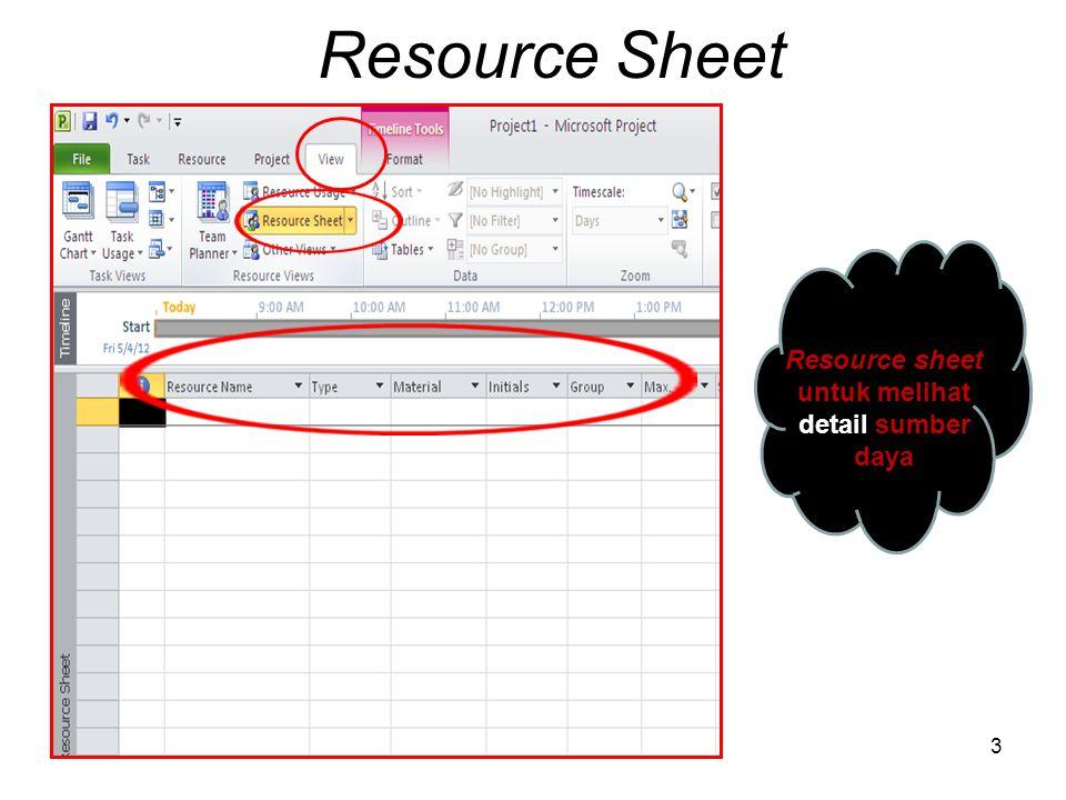 Resource sheet untuk melihat detail sumber daya