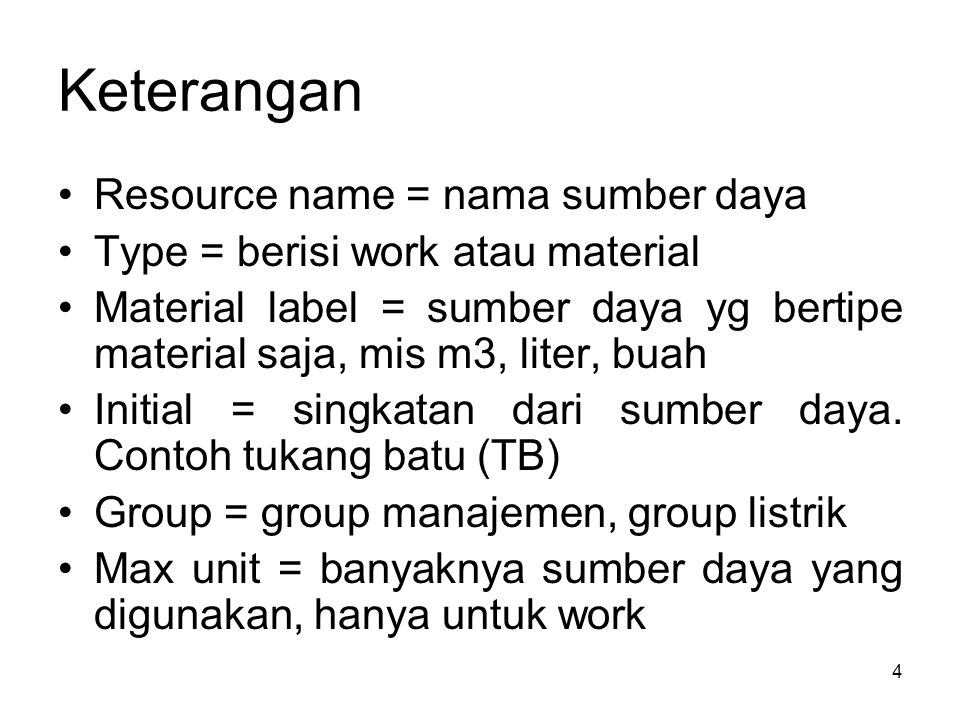 Keterangan Resource name = nama sumber daya