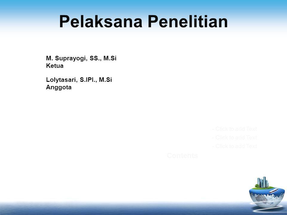 Pelaksana Penelitian Contents M. Suprayogi, SS., M.Si Ketua