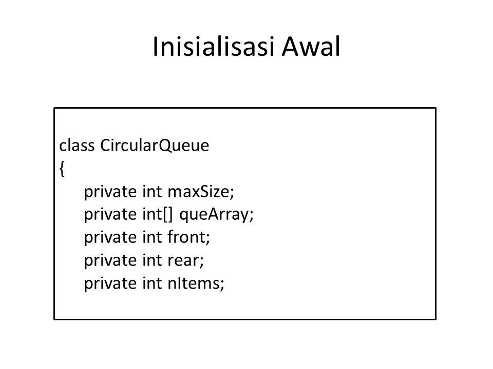 Inisialisasi Awal class CircularQueue { private int maxSize;