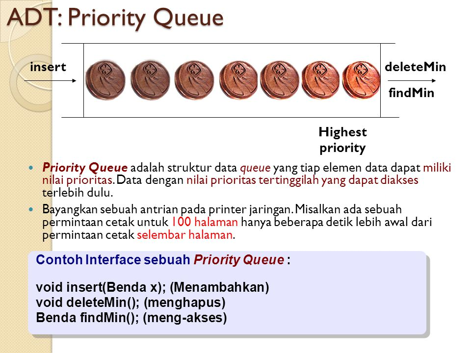 ADT: Priority Queue Highest priority insert deleteMin findMin